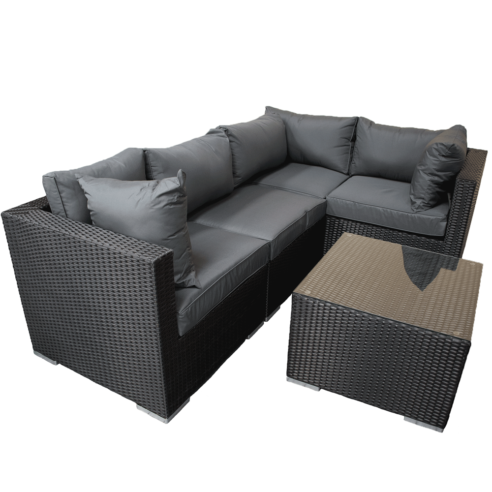 Rattan Furniture Black L Shape 5 Piece Corner Set