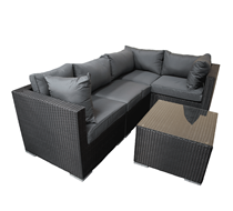 Rattan Furniture Black L-Shape 5 Piece Corner Set